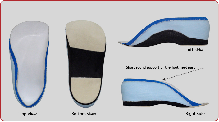 Orthopedic semi-insole with forced construction P-25